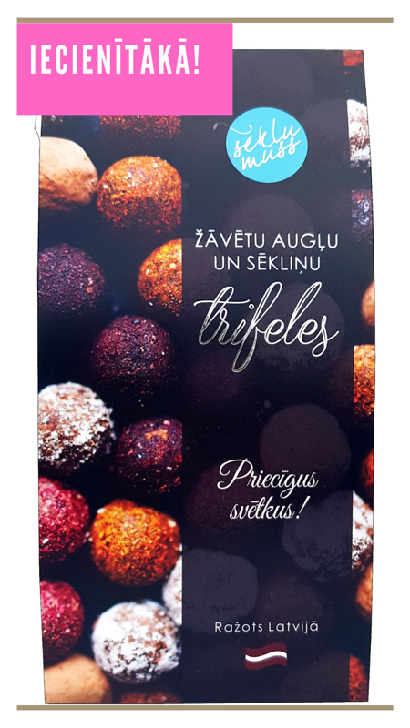 Sēkliņu trifeles ar piparmētrām, truffles with peppermint & strawberries